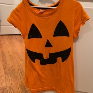 Girls pumpkin shirt, size 10-12.